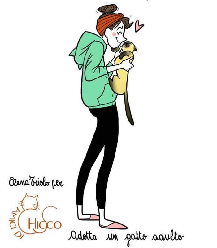 Un disegno di Elena Triolo, in arte Carote&Cannella. E' un'illustratrice di fumetti e di vignette divertenti. Ha un blog e una pagina Facebook, e si può trovare anche su Instagram e Twitter. Sensibile al tema animalista già l'anno scorso aveva collaborato con l'Associazione Amici di Chicco in favore dei gatti